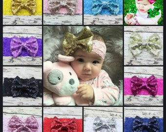 Baby Girls Headband Large Sequin Bow Hairband Soft Lace