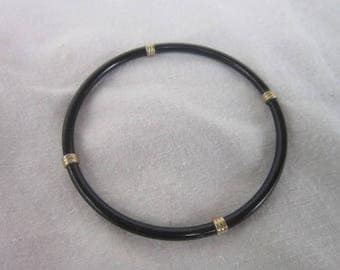 Vintage Retro Black & Gold Bangle Bracelet