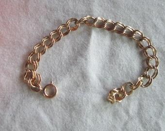 Vintage Gold Filled Double Link Charm Bracelet Nice