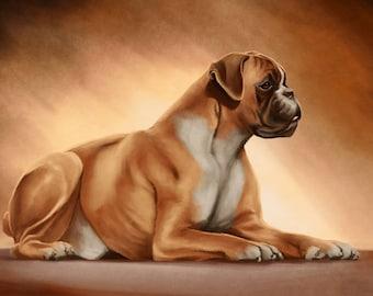Boxer dog print on canvas