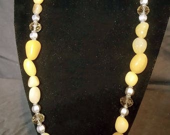 Yellow aventurine and crystal necklace