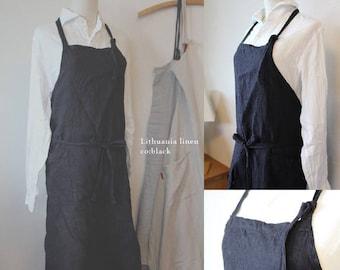 Linen apron black linen 100% [MY BEST APRON]