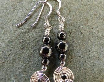 Hematite Earrings, Dangle Drop Earrings, Hematite Jewellery, Birthday, Gift for Her, Anniversary