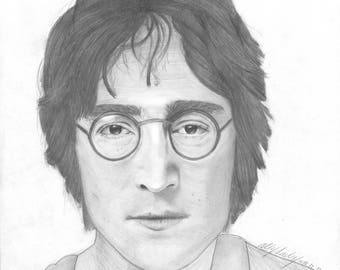 John Lennon Print, Graphite Drawing to Print