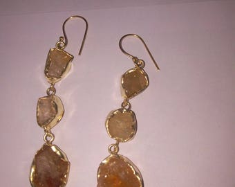 Citrine stone earrings cream color gold plated