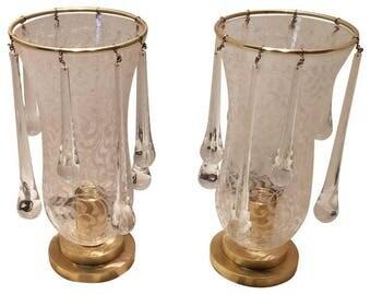 Base lamp-Glass lamp-Murano glass lamp-pair of base lamps-decorated glass-decorated glass-base lamp-Table lamps
