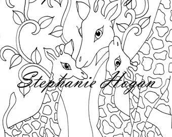 Commissioned giraffe illustration