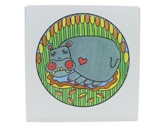 """Hippo dreaming greeting card, hippo card, Africa hippo card, safari hippo card, hippo blank card, 5.25"""" square card"""