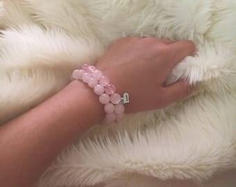 Rose Quarts Stone Beaded Bracelet with Swarvoski Embellished Hope Charm