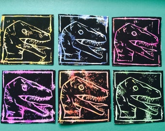 Velociraptor Linocut Prints