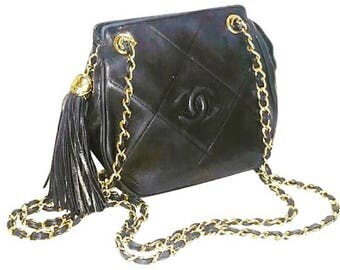 Authentic Chanel Quilted Lambskin Mini Double Chain Shoulder Bag