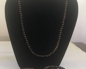 Brown pearl necklace bracelet set