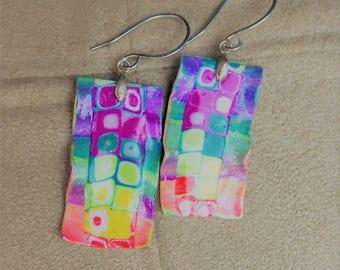 Earrings in polymer clay, multicolor, handmade