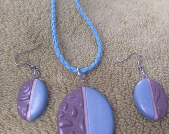 Polymer Clay Jewelry Set / Polymer Clay Pendant and Earnings Set / Blue pendant