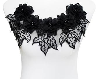 1piece Black Beaded Sequin 3D Floral Lace Patch Neckline Collar Lace Fabric Embroidery Applique Motif Sewing Accessories T1789