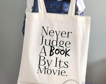 Large 'Never judge a book by its movie' Cotton Tote Bag Funny Gifts Weddings Hen Party Birthdays
