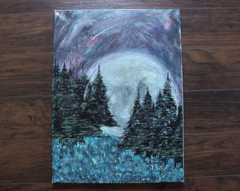 Abstract Moon and Pines