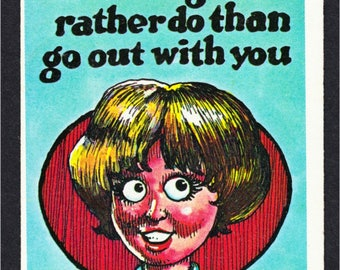 R. Crumb Monster Greetings 1960s Insult Trading Card #38 Signed Comic Art by Robert Crumb - Autographed - 1960s Art