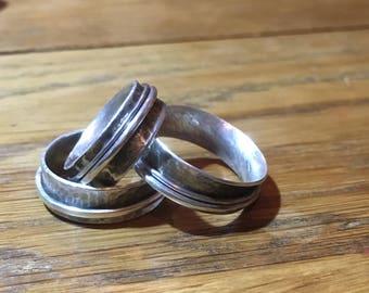 Silver spinner ring, fidget ring