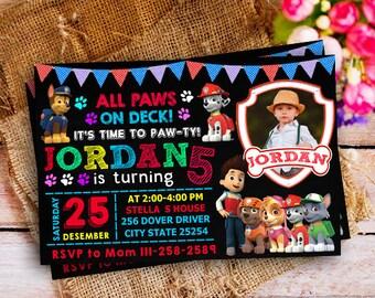 Paw Patrol Invitation Boy and Girls, Paw Patrol Invitation, Paw Patrol Birthday, Paw Patrol Birthday Invitation, Paw Patrol Birthday Party