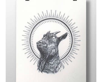 Goat bless you - Letterpress art print