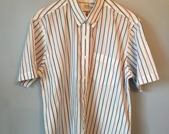 Men's Vintage Button-up Striped Shirt 80s 90s