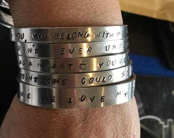 Aluminium cuff bangles personalised