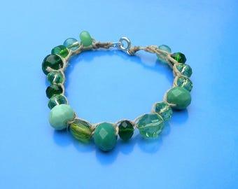 Green Beaded Crochet Bracelet