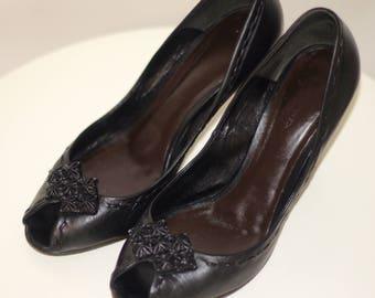BOTTEGA VENETA Peeptoe Pumps with woven heels