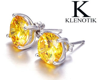 925 sterling silver shiny round citrine Stud Earrings