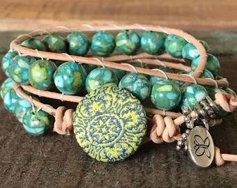 Handmade beaded wrap bracelet.