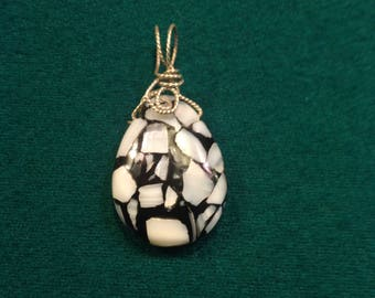 Wire wrapped Black Onyx and Shell by artisan using sterling silver