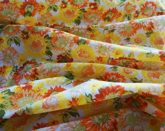 Poly Cotton Fabric - Yellow / Orange Sunflowers
