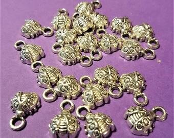 Antiqued Silver Ladybugs