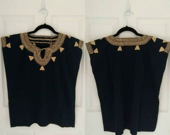 Mexican Hand Embroidered Blouse (Navy Blue)