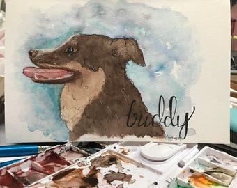 Puppy Portrait || Watercolor Original || Painting
