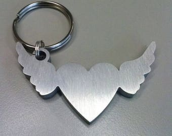 Winged heart key ring in polished aluminium
