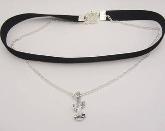 Double choker with cactus charm