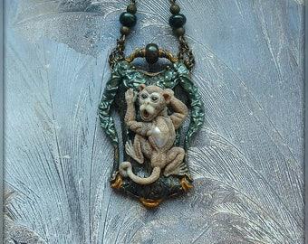 "Pendant ""Monkey"" jewelry from polymer clay jewelry pendant monkey animal tree art Nouveau modern"