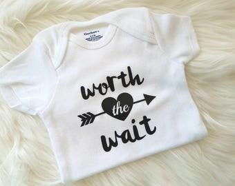 Worth the Wait Onesie, Black Worth the Wait Onesie, Baby Boy Onesie, Baby Boy New Arrival, Gift for Baby Boy, Boy Onesie, Mommy To Be Gift