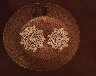 Tatting Lace Appliques Set of 2