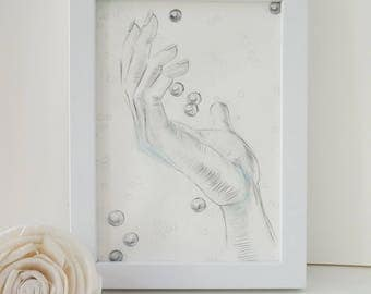 "Original drawing a hand of ""Beads catcher"" 13x18cm pencil"