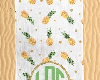 Personalized Pineapple Patterned Beach Towel - Watercolor Colorful Monogram Summer Pineapple Print 30x60 Beach Towel