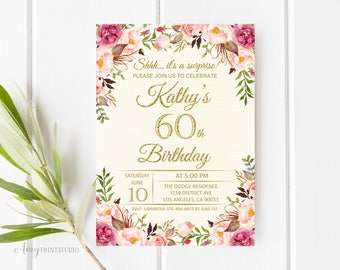 60th Birthday Invitation, Floral Cream Birthday Invitation, Any Age Birthday Invite, PERSONALIZED, Digital file, #W06