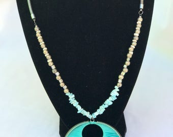 """13.5"""" beaded necklace with 3""""pendant"""