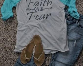 Faith Over Fear Baseball Style Raglan