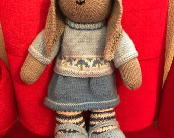 Hand Knitted Girl Bunny
