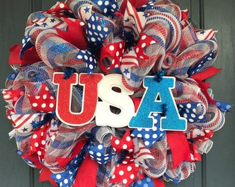 Patriotic Wreath, Deco Mesh Wreath, Memorial Day Wreath, 4th of July Wreath, Independence Day Wreath, Red White and Blue Wreath, USA