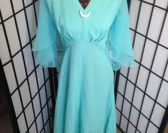 Vintage Aqua Evening Dress Size 14-16