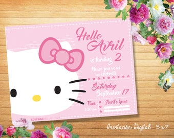 Hello Kitty Digital invitation birthday